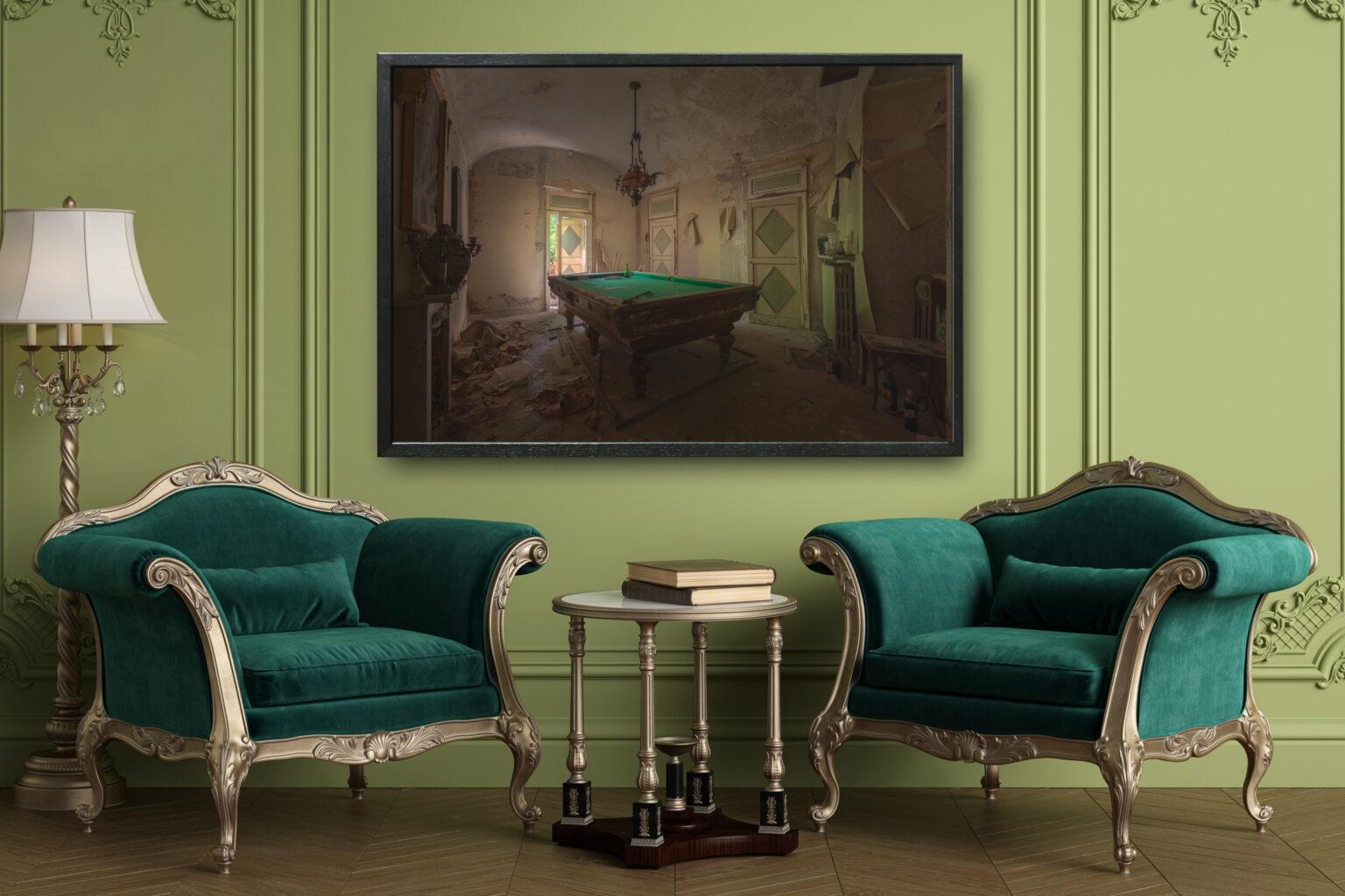 1-sedie classiche, verde, biliardo tagliato